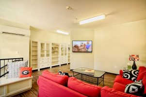 Sorority tv room - real estate photography.