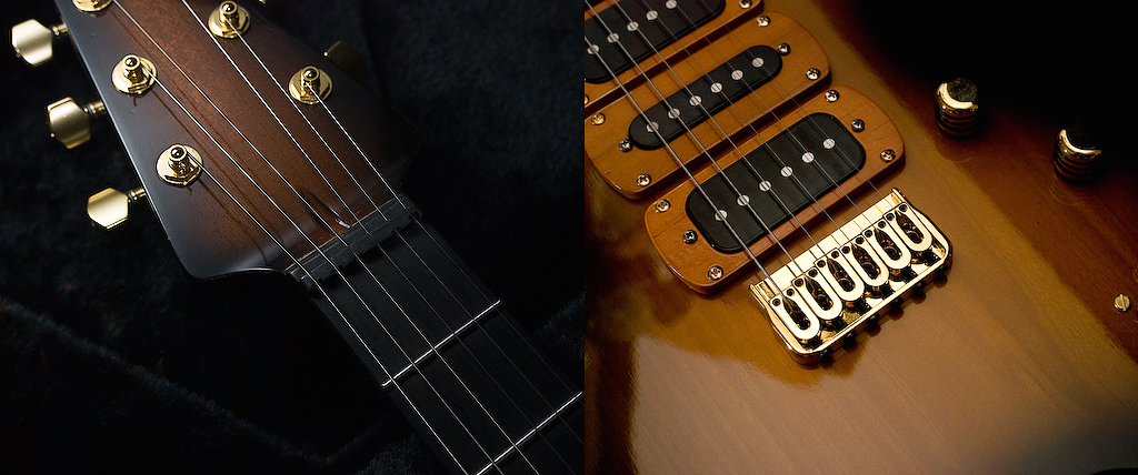 Custom Built Guitar body and headstock - Product Photography.